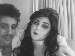 This is Alessandro and I as Dr. Frankenstein and his wife. Note how the black and white really brings out the antique effect, despite the fact we're using a webcam...